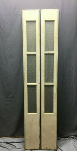 Pair Antique 3 Lite Privacy Glass Entryway Sidelights Yellow 9x75 389-20B