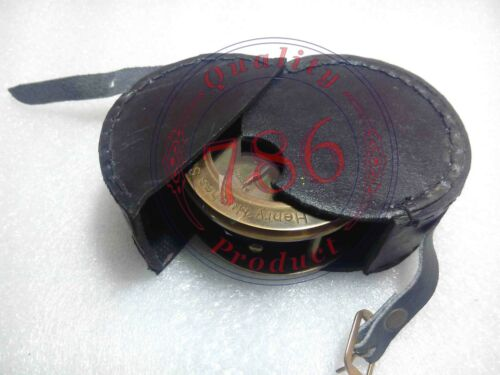 ANTIQUE HEAVY FOLDING MAGNIFYING GLASS MAP COMPASS WITH LEATHER CASE