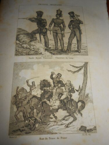 1836 ENGRAVING PRUSSIAN ROYAL GUARD CHASSEUR DU LOUP DEATH PRINCE OF PRUSSIA