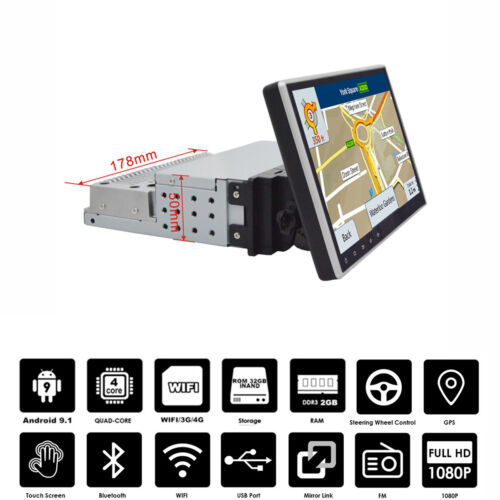 "9"" Touch Screen 1 Din Android 9.1 Car Stereo GPS MP5 Player Quad Core Rotatable"
