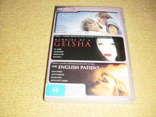 THE NOTEBOOK memoirs of a geisha THE ENGLISH PATIENT = 3 DVD near NEW drama R4
