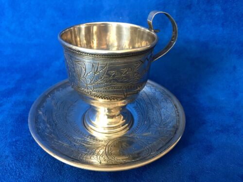 Circa 1890's Russian 84 Silver Engraved Cup & Saucer