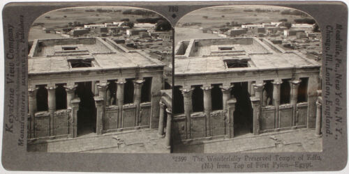 Keystone Stereoview of the Temple of Edfu in Egypt From Rare 1200 Card Set #796