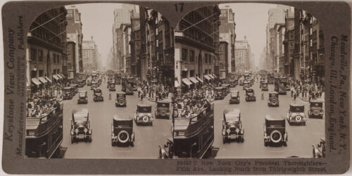 Keystone Stereoview of 5th Ave, New York w/Cars & Buses from the 1920's 400 Set
