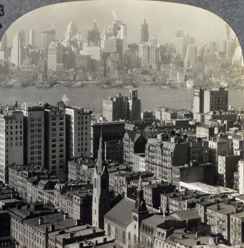 Keystone Stereoview overlooking Manhattan & Brooklyn, NY From 1200 Card Set #33