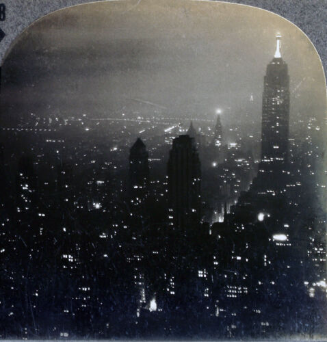 Keystone Stereoview Empire State Building at Night, NYC From RARE 1200 Set #28