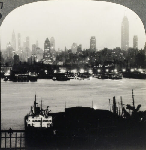 Keystone Stereoview Piers & New York City at Night From RARE 1200 Card Set #37-A