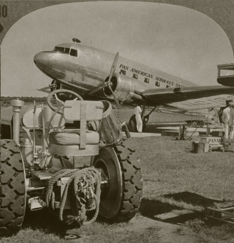 Keystone Stereoview Pan Am Plane Refueling, Paraguay From RARE 1200 Card Set # B