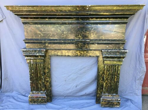 "Greek Revival 53"" x 60"" Fireplace Mantel Old Marbleized Wood Vintage 501-20B"