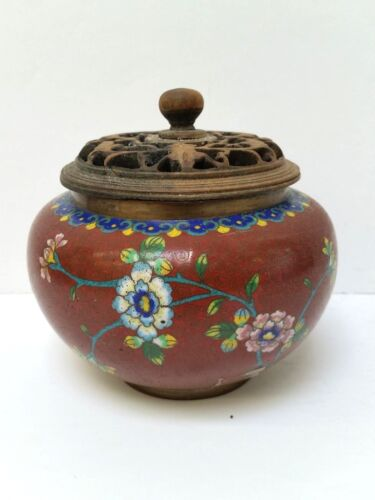 Antique Chinese Cloisonne Incense Burner with Wooden Lid