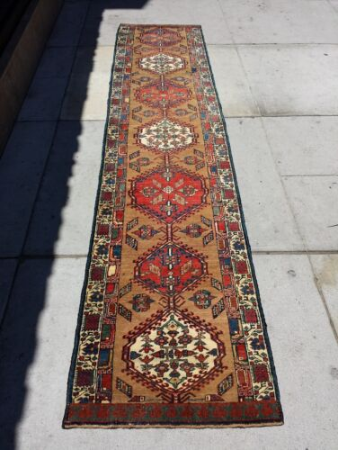 Antique Hand Knotted Wool Runner Rug