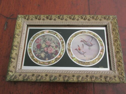 Vintage / Antique Timber Frame with Mother of Pearl Highlights Two Round Photos