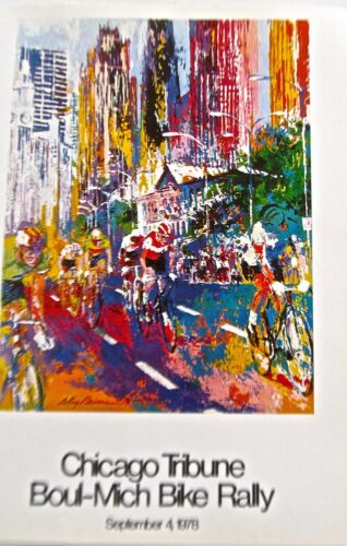 LeRoy Neiman Poster Cycling Art for Chicago Tribune Bike Rally 16x11