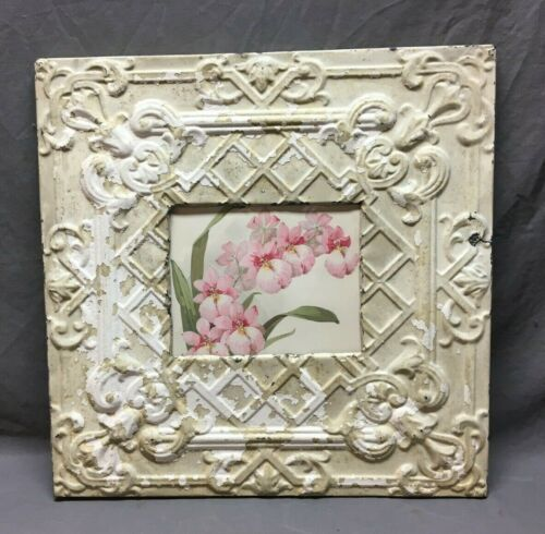 Antique TIN CEILING Metal 8X10 Picture White Recycled 550-20BE
