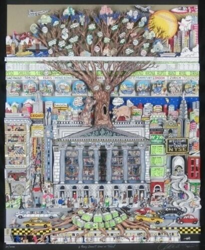 Charles Fazzino Artist 1999 Money Doesn't Grow On Trees EDITION SOLD OUT