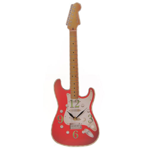 Wall Clock Novelty Red Rock Guitar Music Instrument Home Decoration