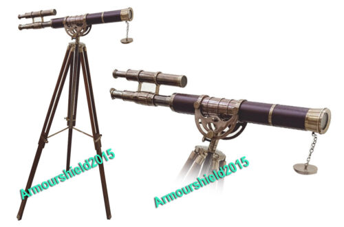 Collectible Telescope Double Barrel Authentic Brown Tripod Stand