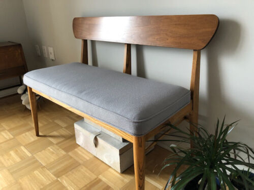 mcm mid-century modern refinished/upholstered petite walnut bench orig sticker