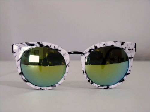 """NEW LOOK woman sunglasses """"CAT EYES""""  Mirrored Retro' 60 Marbled white NEW Tag"""