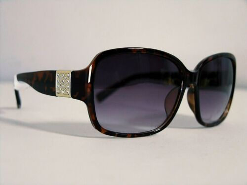 ANGLO woman sunglasses Retro' Vintage Style Square Brown Turtle gold Details NEW