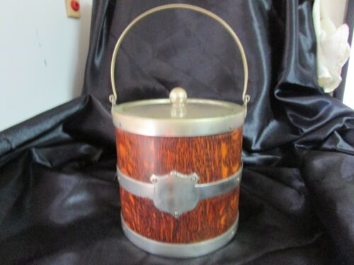 ANTIQUE ENGLISH OAK ICE BUCKET WITH NICKEL HANDLE & BRACES  & CERAMIC LINER