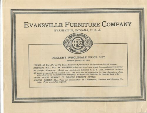 1924 evansville indiana furniture co wholesale Price List, 4 pgs, Davenports &c