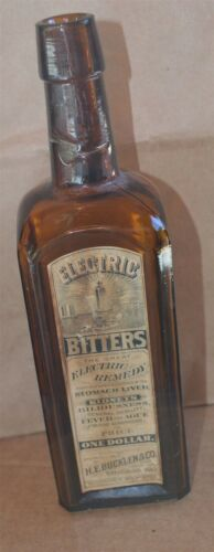 Antique Electric Bitters Glass Embossed & Paper Label Bottle