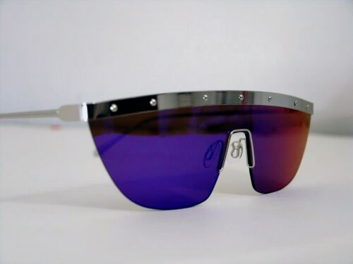 """PEACOCKS woman sunglasses Androgynous Retro' 80 Style """"Mask"""" Mirrored metal NEW"""