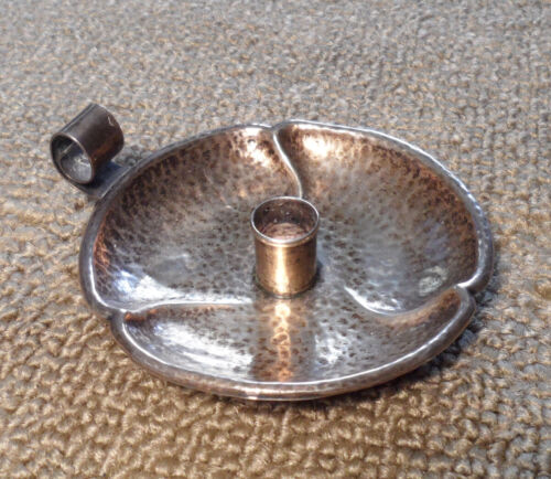 arts&crafts period james e blake & co hammered sterling candle stick/dish/holder