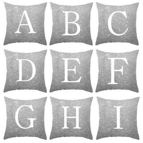 Home Decorate Cushion A-z Letters Printed Square Glitter Throw Pillow Case Cover