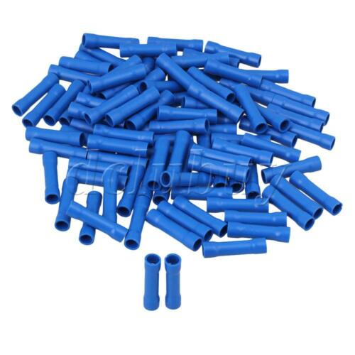 100x Blue Butt Connectors Insulated Straight Crimp Terminals 16-14 AWG for Cable