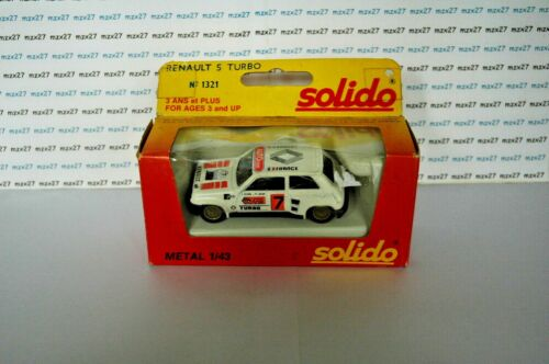 VOITURE RENAULT 5 TURBO N°7 BLANC  N°1321 SOLIDO MADE IN FRANCE EN BOITE