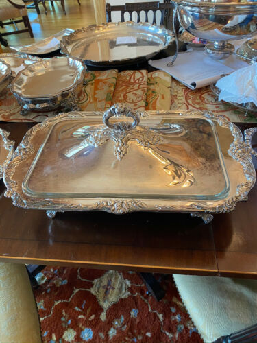 Estate Reed & Barton Silver Plate King Francis 1668 Buffet Server Footed w/Lid