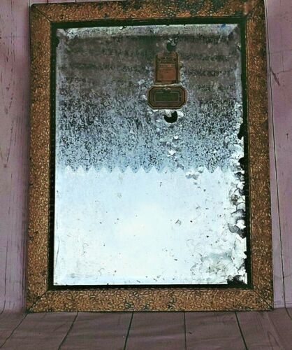 OLD ANTIQUE WOODEN FRAMED WALL HANGING DRESSING BELGIUM MIRROR WITH COPPER BACK