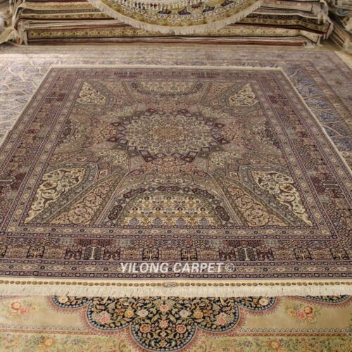 Yilong 8'x10' High Density Hand knotted Wool Silk Carpet Luxurious Area Rug 1902