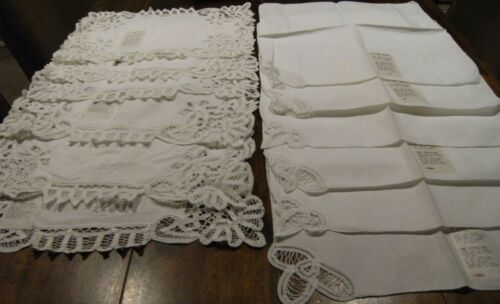 12 Unused St Clare Napiery hand embroidered cotton