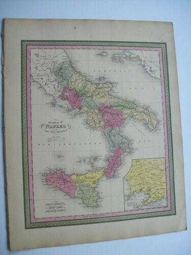 Antique 1854 MITCHELL MAP  # 61 KINGDOM OF NAPLES TWO SICILIES hand tinted old