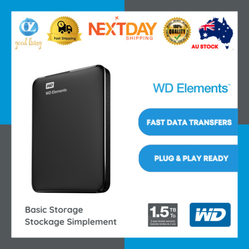 WD Elements 1.5TB 4TB External Hard Drive Portable USB 3.0 HDD Expansion Black
