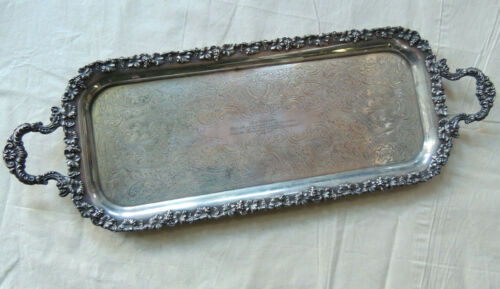 Barker Ellis Silverplate Serving Tray w/- engraved inscription, made in England