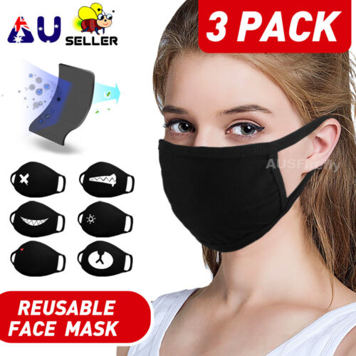 3 Pack Washable Face Mask Anti Pollution Cotton Masks Reusable Mouth Mask