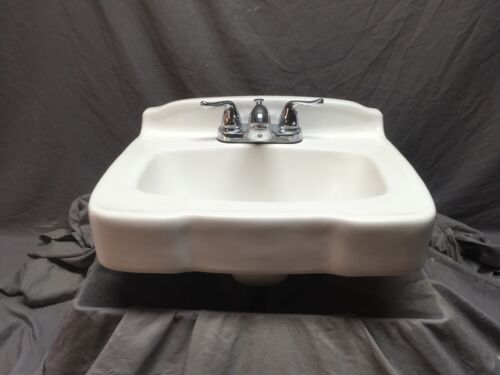 Vintage White Porcelain Ceramic Bathroom Wall Sink Old Mansfield Fixture 556-20E