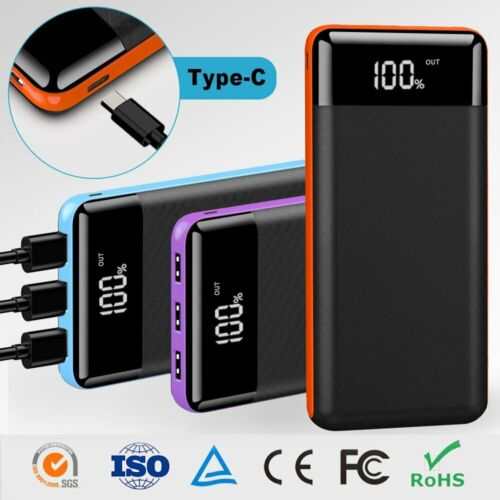 Portable Power Bank 500000mAh 3USB LCD External Battery Charger For Cell Phones
