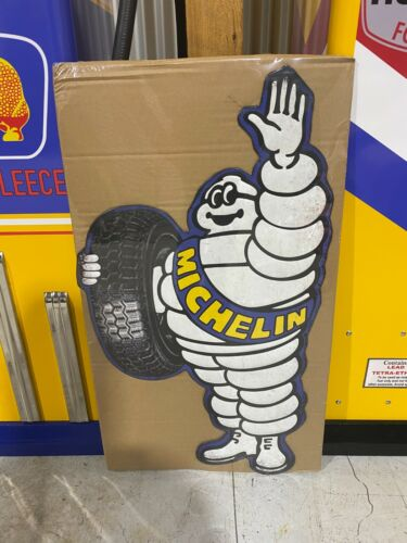 MICHELIN MAN HUGE EMBOSSED TIN SIGN PERFECT WITH BOWSER TYRES MAN CAVE