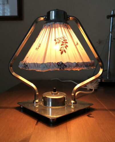 swiss period art deco chromed machine-age boudoir lamp silk burgundy/ivory shade