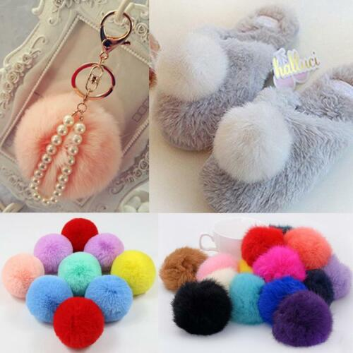 Diy Women Natural Faux Fur Pom Poms Ball For Knitted Hat Beanies Cap