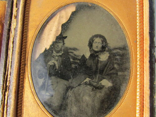 Antique Photograph Ambrotype Cased Couple Man Top Hat Cane Woman Wagon Outdoor