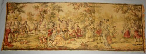 """ANTIQUE VICTORIAN HAND WOVEN FRENCH TAPESTRY MADE IN BELGIUM 54"""" X 19"""" CA 1920's"""
