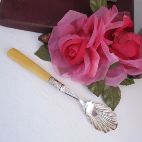 Antique silver plated jam/condiment spoon fluted bowl ivorine handle
