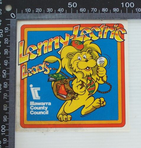 VINTAGE LENNY-LECTRIC LEADS ILLAWARRA COUNTY COUNCIL ADVERTISING PROMO STICKER
