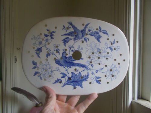 "1840s RARE STAFFORDSHIRE CHINA FOOTED 11"" HOT PLATE WITH VENT HOLES BLUE BIRDS"